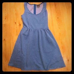 Anthropologie Maeve Fit & Flare Blue Dot Dress M